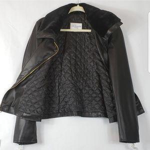 Cole Haan Jackets & Coats - Cole Haan faux leather black moto jacket M